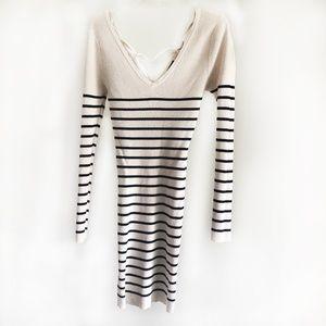 Nikibiki Black/White Stripe Long Sleeve Knit Dress